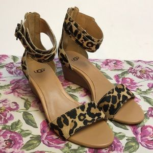 Ugg Cheetah Sandal Wedges Size 7